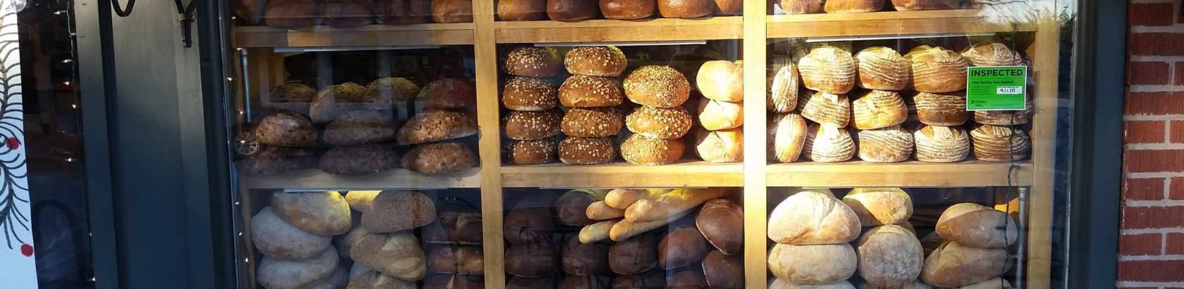bread in Katzingers Delicatessen window