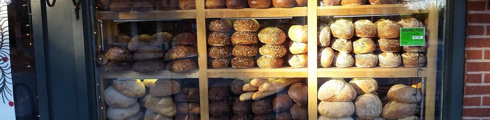 bread in Katzingers Delicatessen window