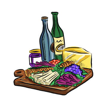 cheese, charcuterie and wine illustration