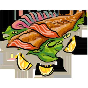 smoked fish illustration