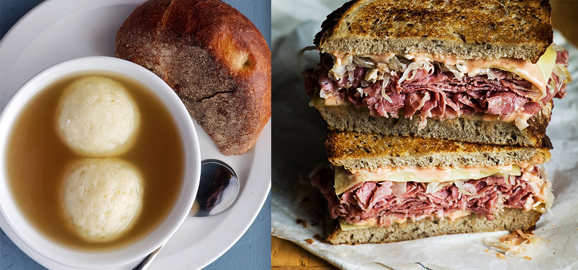 Matzo Ball Soup and a Reuben sandwich